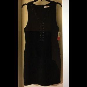 NWT JUSTFAB Black Lace Up Peplum Bodycon MiniDress